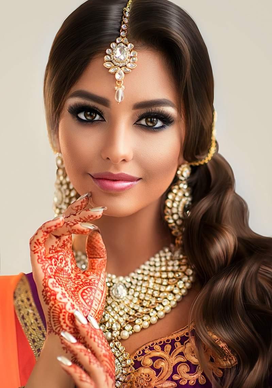 Piękne włosy hinduski